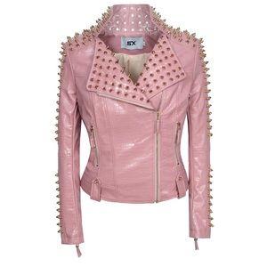 Pink Belted Jacket Studded Rivet Crock Embossed